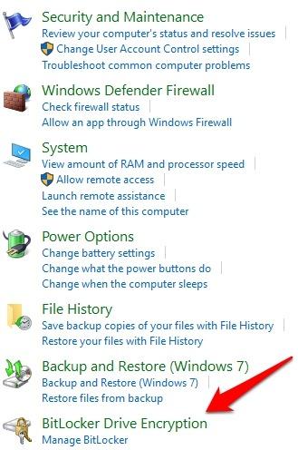Protección de archivos con contraseña Windows 10 Cifrado de unidad de seguridad del sistema Bitlocker desde el panel de control