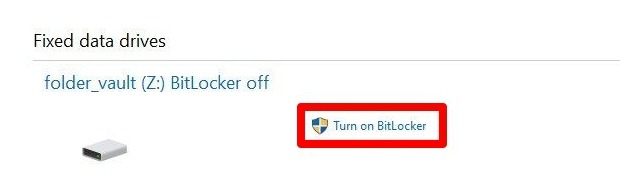 Protección de archivos con contraseña Windows 10 unidades de datos fijas Bitlocker Drive Encryption Activar Bitlocker