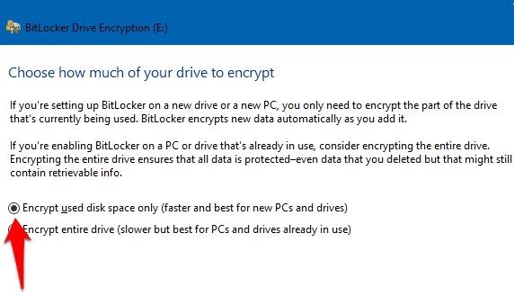 Protección de archivos con contraseña Windows 10 Bitlocker cifra el espacio en disco usado