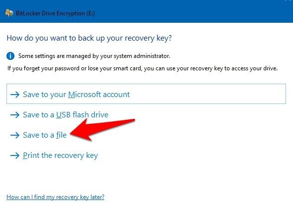 Protección de archivos con contraseña Windows 10 Bitlocker Guardar en archivo