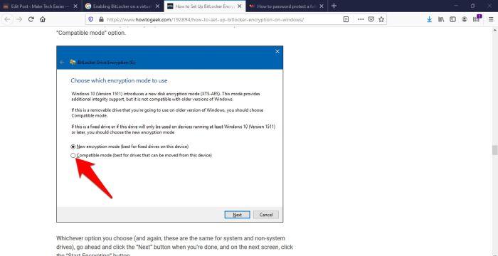 Protección de archivos con contraseña Windows 10 Modo de espacio en disco compatible con cifrado Bitlocker utilizado