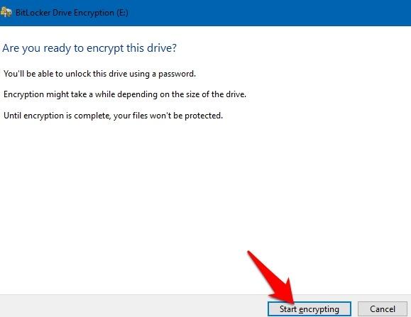Protección de archivos con contraseña Windows 10 Cifrado de inicio de Bitlocker