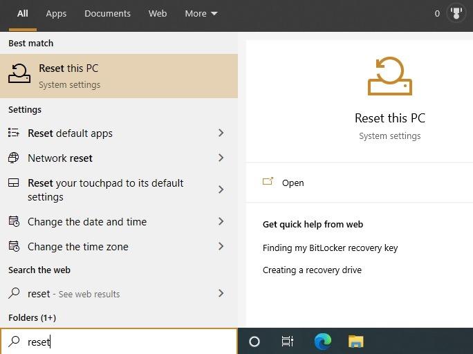 Restablecer la configuración de fábrica de Windows 10 Restablecer este menú de PC desde el principio