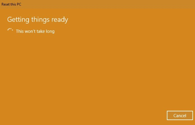Restablecer la preparación de Windows 10 a la configuración de fábrica