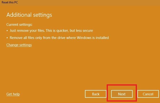 Restablecer la configuración de fábrica en Windows 10 Omitir configuraciones adicionales