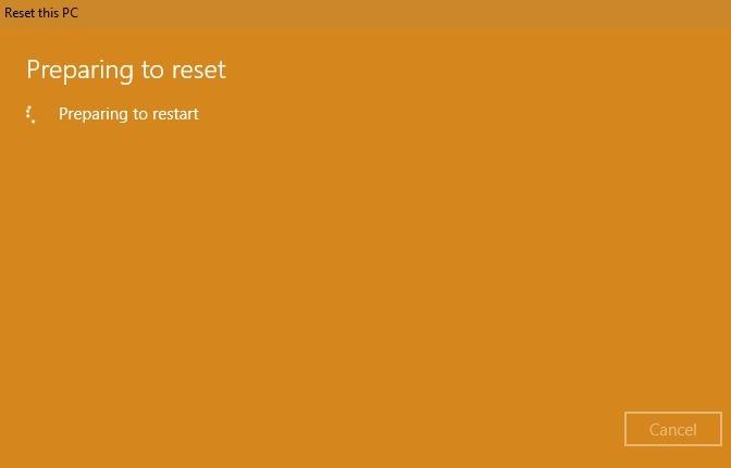 Volver a la configuración de fábrica Windows 10 Preparación para el reinicio