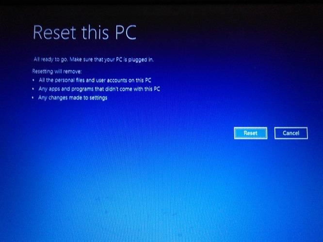 Volver a la configuración de fábrica Windows 10 opciones de reinicio