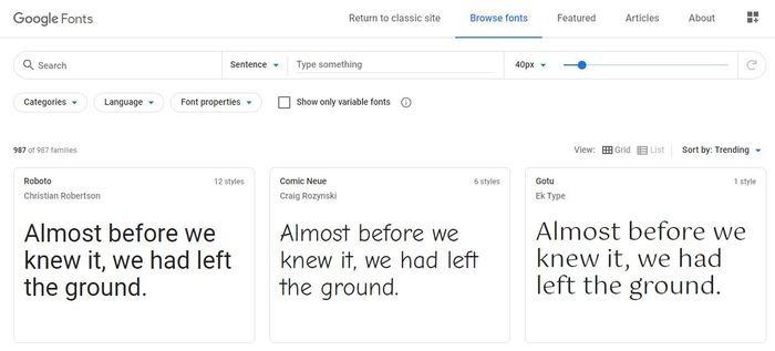 Instalar Administrar fuentes Windows 10 fuentes de Google