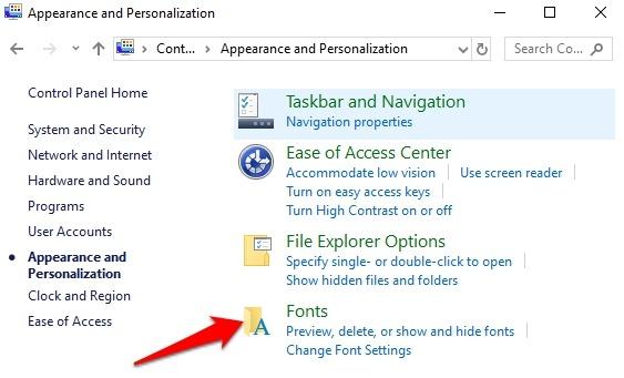 Instalar Administrar fuentes Windows 10 fuentes para personalizar el aspecto del panel de control