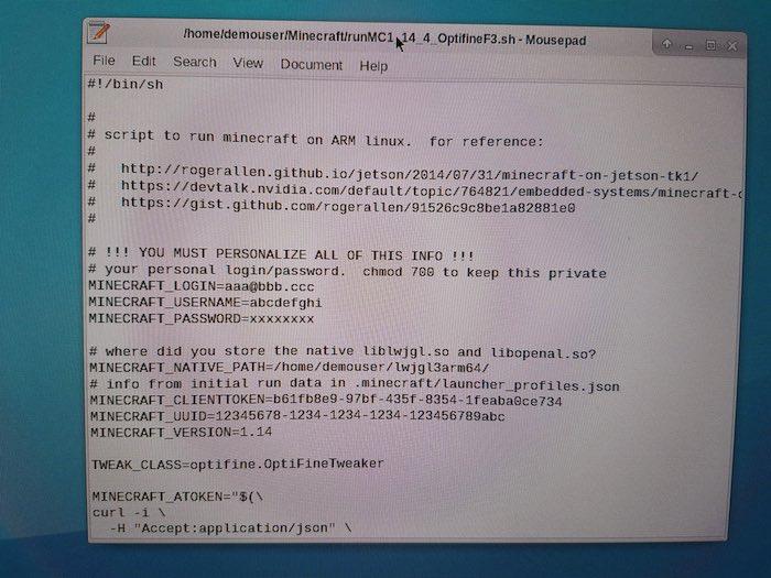 Reemplace el nombre de usuario, la contraseña y la dirección de correo electrónico del marcador de posición OptiFine por sus propias credenciales de Minecraft.