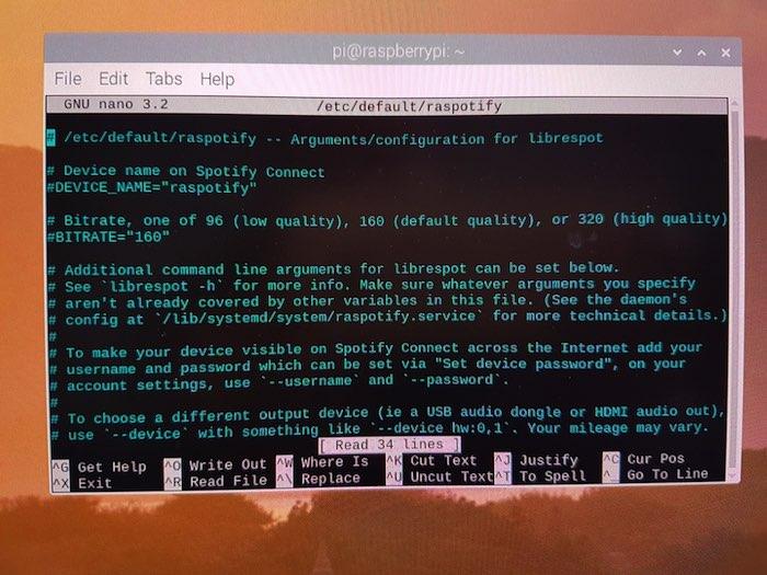 Puede modificar la configuración de Raspotify en su archivo de configuración
