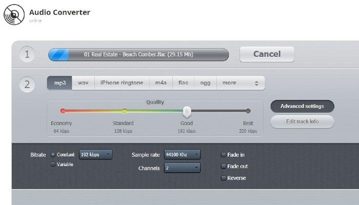 Convertidor de audio en línea Flac a MP3