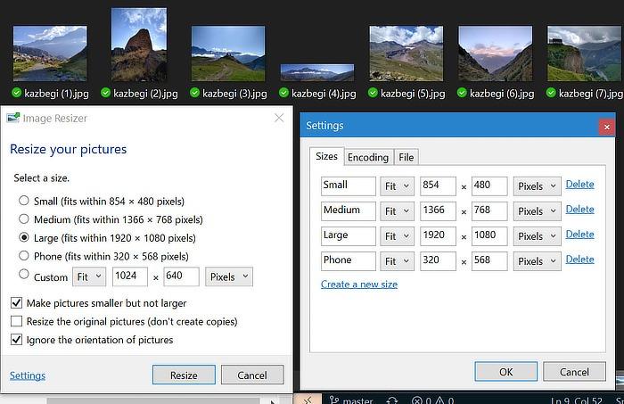 Configuración de cambio de tamaño de imagen de Powertoys