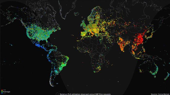 Mapamundi de Internet de Popcorntime Carna Botnet