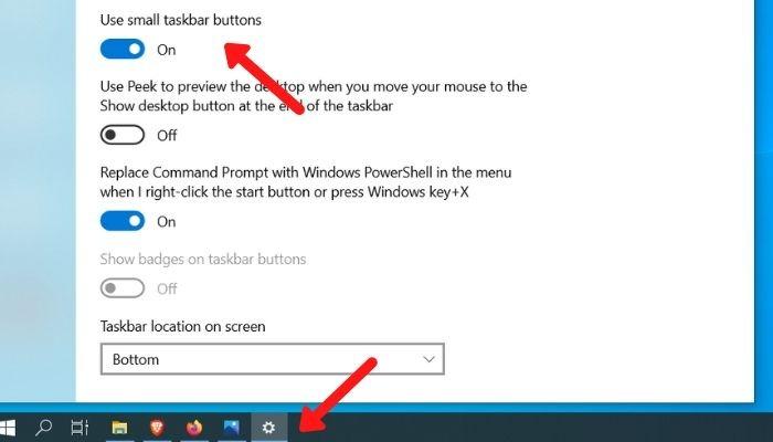 Elimina el tamaño de los iconos de la barra de tareas del desorden del escritorio
