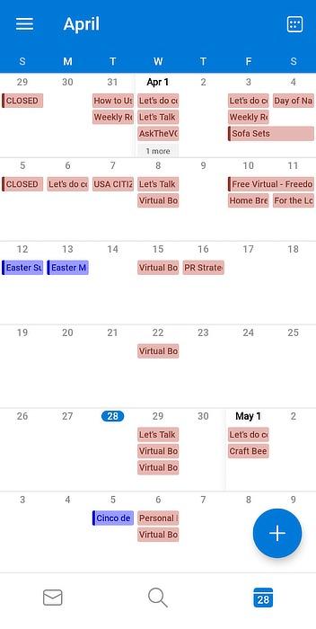 Outlook Mobile alternativo de Google Calendar