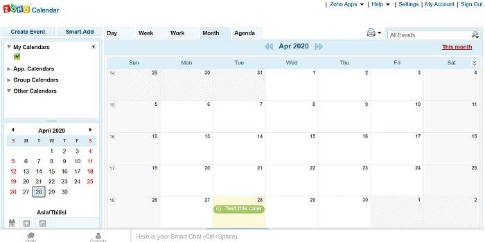 Calendario alternativo de Google Calendario Zoho