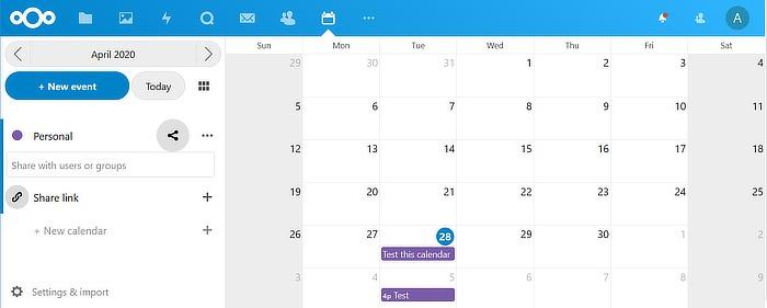 Calendario alternativo de Google Calendar Nextcloud