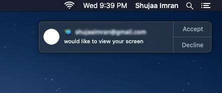 Notificación de uso compartido de pantalla de Macos