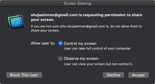 Macs Screen Sharing Controlar mi pantalla
