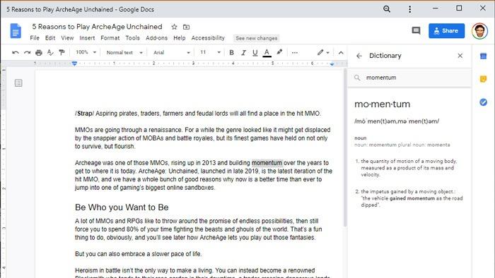 Cómo buscar definiciones de palabras Windows 10 documentos de Google