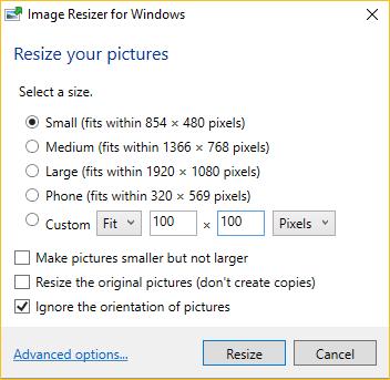opciones de cambio de tamaño por lotes de Windows