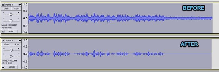 Efecto de cancelación de ruido Audacity antes y después de la forma de onda