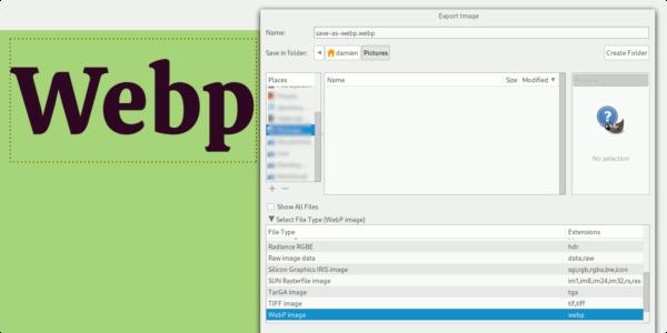 Cómo guardar archivos en WebP en GIMP
