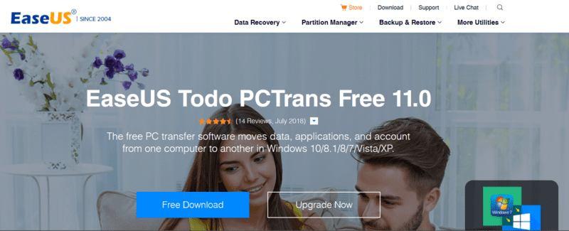 En movimiento Windows Programa web Easeus Pctrans