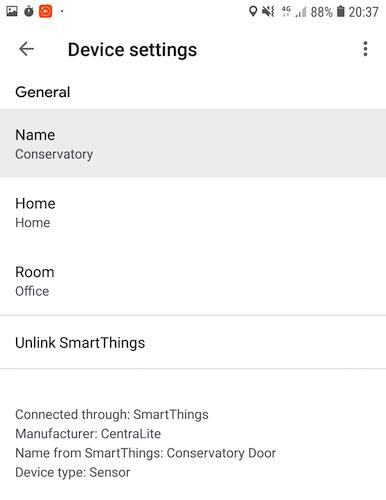 Puede cambiar el nombre de cualquier dispositivo o sensor SmartThings en la aplicación Google Home.