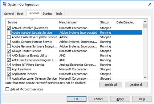 La barra de tareas no funciona Windows 10 msconfig