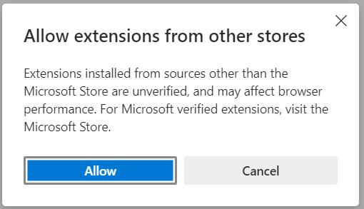 Edge Vs Chrome Permitir extensiones